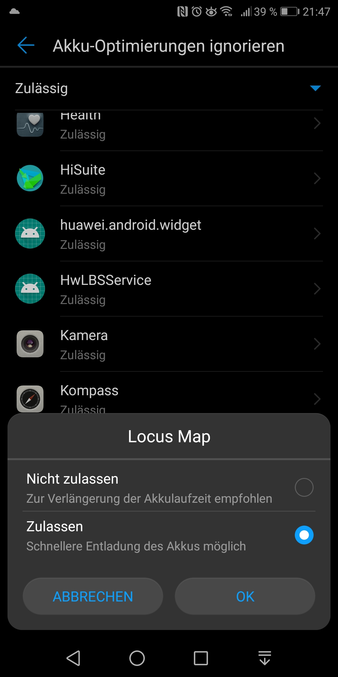 Locus Map terminated on Huawei smartphones