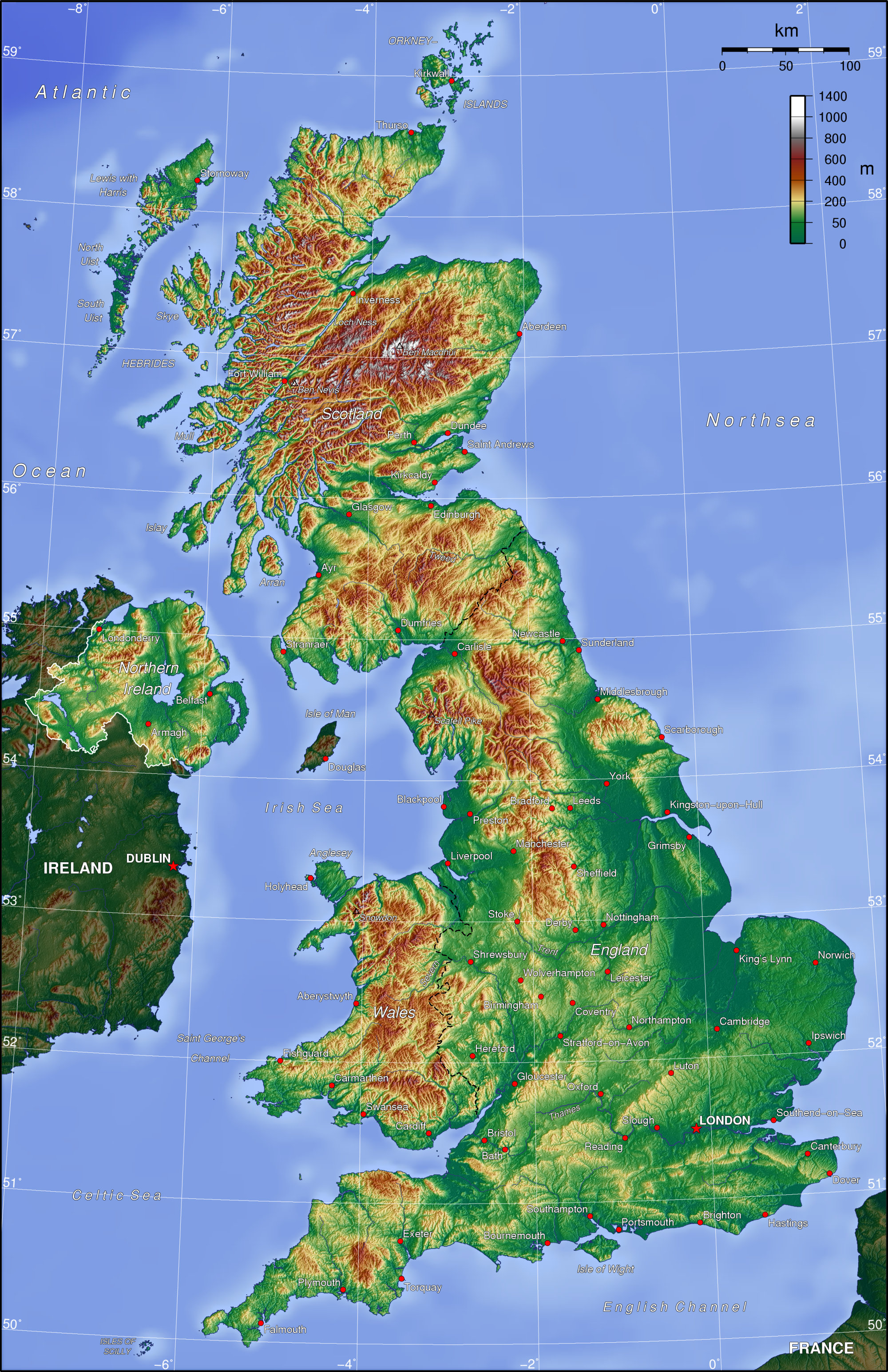 Map Colored By Elevation Like UK Topo Map - Terrain map uk