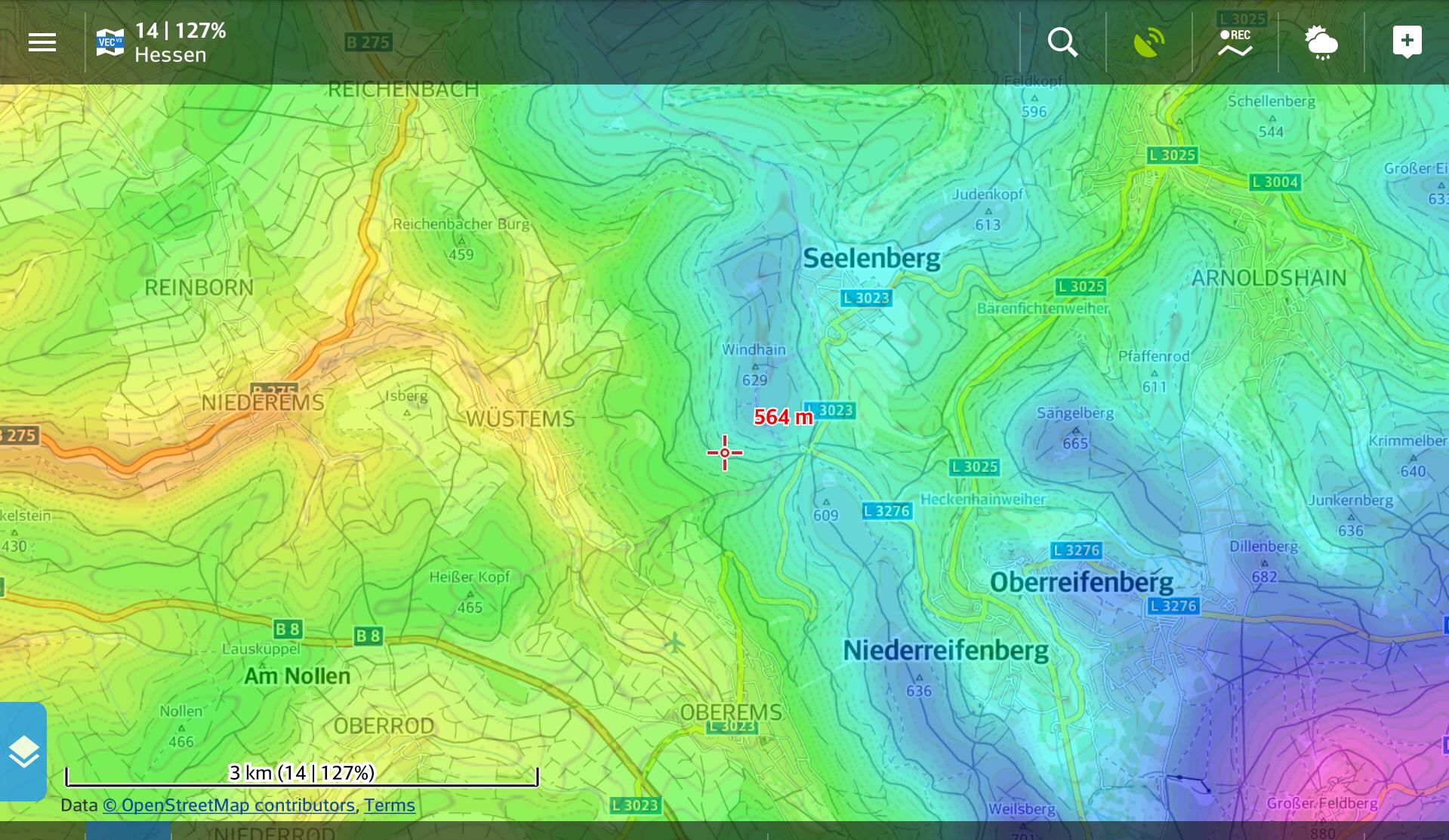 Altitude map (altitude as color gradient)